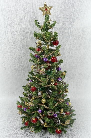 "9"" Luxury 12th Scale Dollshouse Christmas Carol Tree - Click Image to Close"