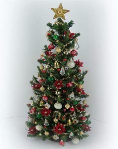 "8"" Luxury OOAK 12th scale Pionsettia Dollshouse Christmas Tree"