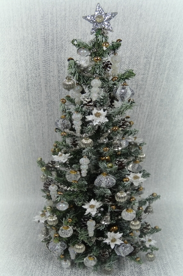"Luxury 9.25"" White Poinsettia 12th scale Christmas Tree - Click Image to Close"