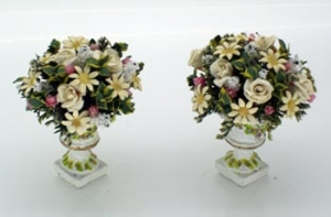 Daisies, Roses and Gypsophila - Pair