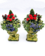12th scale Miniature Red Geranium Urns