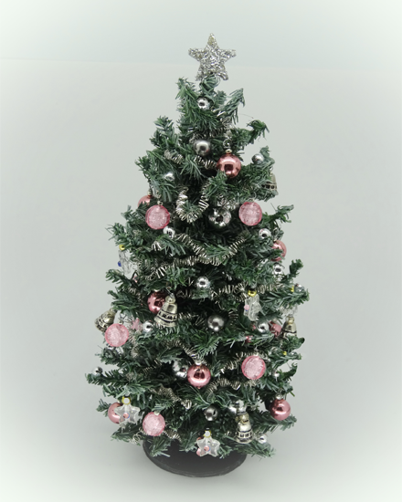 "6.25"" Luxury 12th scale Blue Spruce Pink Christmas Tree"