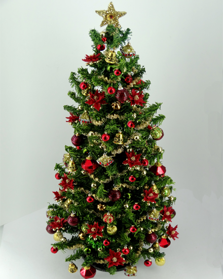 "Luxury 9"" Heirloom Poinsettia Dollshouse Christmas Tree"