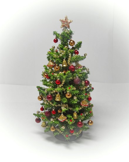 12th scale Luxury Ruby Red & Gold Christmas Tree