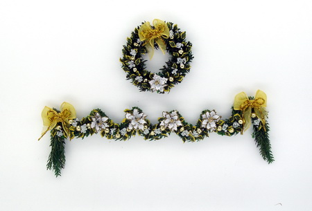 Luxury White Poinsettia, Laurel Wreath and Garland