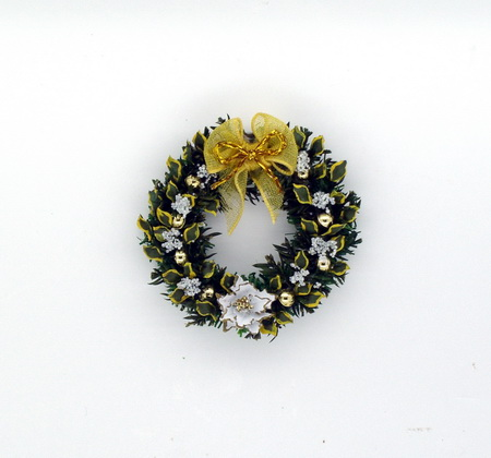 Stunning White Poinsettia and Laurel Leaf Wreath - Click Image to Close