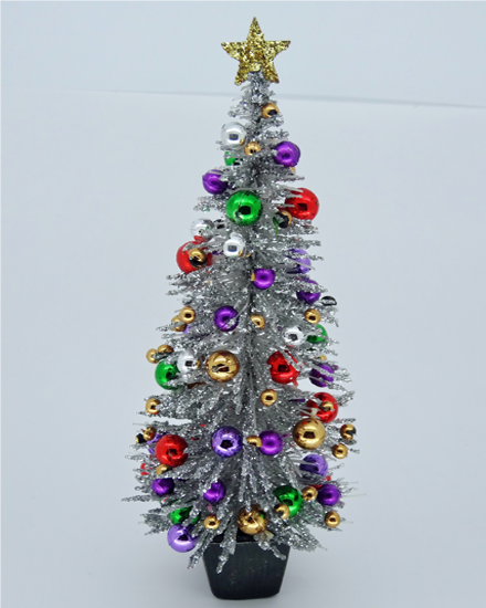 5.75 Silver 1960's Retro style Dollshouse Christmas Tree - Click Image to Close