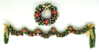 Luxury Christmas Poinsettia Wreath and Garland - Pair
