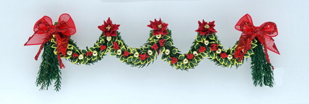 12th scale dollshouse Red Poinsettia & Laurel Xmas Garland