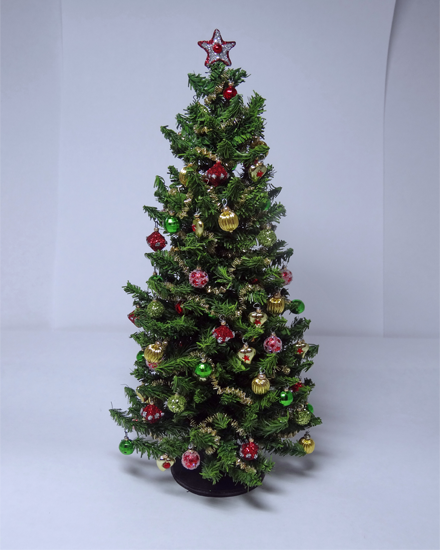12th scale Luxury Red Green & Gold Christmas Tree