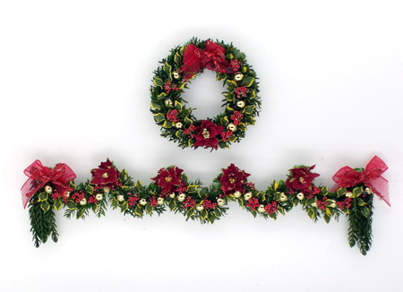Luxury Red Poinsettia, Laurel Wreath and Garland Set