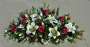 Scarlet Roses, Lilies and Ivy Mantle Display - Click Image to Close