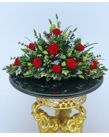 12th Scale Winter Red Carnation & Eucalyptus Arrangement - Click Image to Close