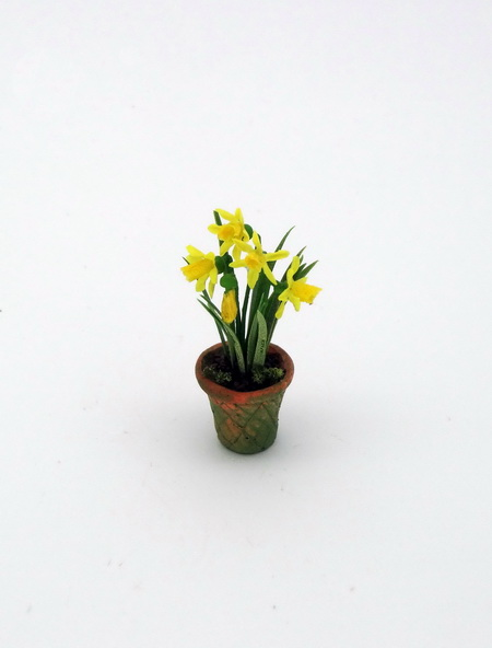 Handmade 12th scale Daffodils in mossy pot