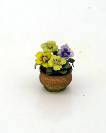 Dollshouse 12th scale Potted Pansies - Click Image to Close