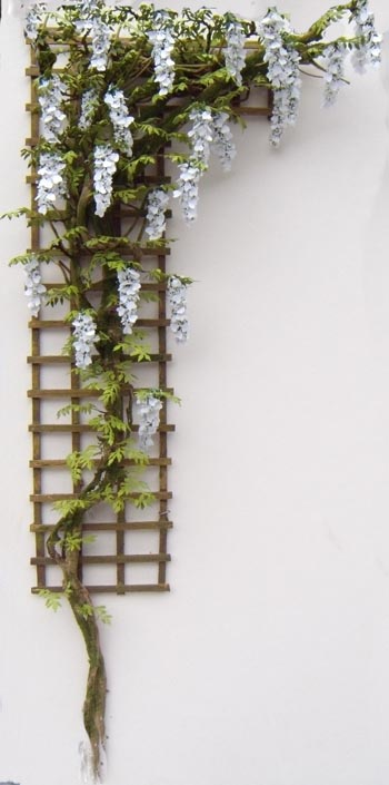 White Dollshouse Miniature Wisteria Trellis