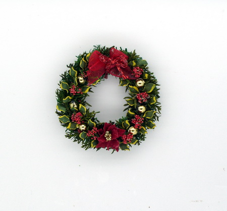 Luxury Red Poinsettia and Laurel Wreath