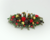 12th scale dollshouse Red Rose and Holly Table Arrangement