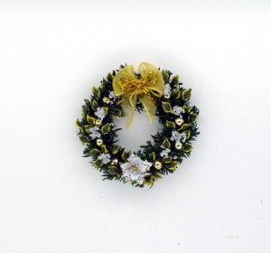 Stunning White Poinsettia and Laurel Leaf Wreath
