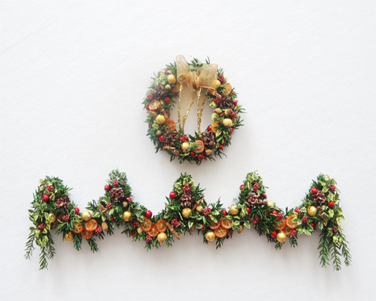 "Luxury 12th scale dollshouse ""Natures Own"" Wreath and Garland - Click Image to Close"