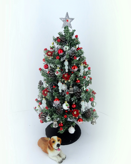 "6.75""Dollshouse 12th scale Silver & Red Christmas Tree"